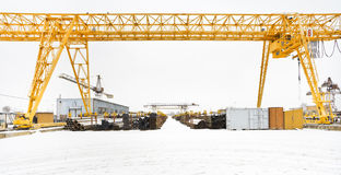 View with bridge cranes and metal products Stock Photography