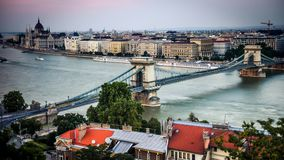 View on the bridge on Danube in Budapest stock footage