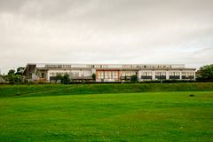 A view of Bridge of Don Academy from football pitch outside of Westfield park in Aberdeen. City, Scotland Stock Image