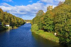 View from the bridge of Durham Cathedral 2, the river and the old school house. Taken to capture the impressive and beautiful locations of Durham Cathedral and royalty free stock image