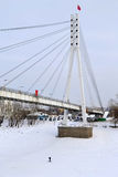 View of the bridge fallen in love in Tyumen in the winter, Russi Stock Photos