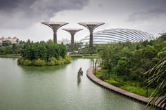 View from bridge into Gardens by the Bay. Supertrees and conservatory in gardens by the bay, Singapore Royalty Free Stock Photos