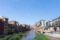 View from the bridge in Girona old town in Spain Royalty Free Stock Photography
