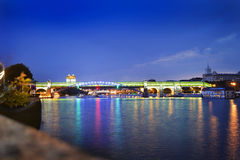 View on the bridge in Gorky Park in Moscow Royalty Free Stock Image