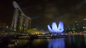View of the bridge and the hotel Marina Bay stock footage