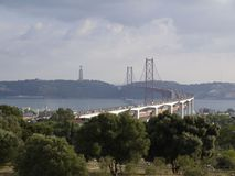 View of the 25 of April bridge in Lisbon royalty free stock photo