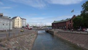 A view of the Bridge of Love on Katajanokka channel. Helsinki, Finland stock footage