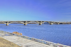 View of the bridge Metro across the Dnieper river Royalty Free Stock Images