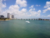 View from the bridge at Miami city, watercrafts. Royalty Free Stock Photography