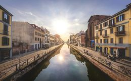 View from a bridge  in Milnano, Italy royalty free stock image