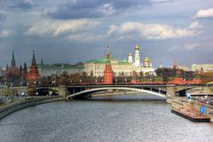 View of bridge and moscow's Kremlin Royalty Free Stock Photography