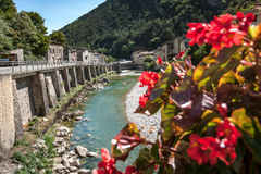 View from bridge on the mountain river `the dreams` in the Frenc stock photo