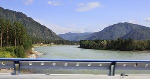 View from bridge on the mountain river Katun Royalty Free Stock Photos