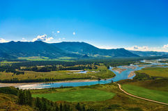 View of the bridge and the mountain valley and blue river Royalty Free Stock Photos