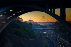 View on the bridge - night urban picture. Urban picture with view on the bridge through railways royalty free stock images