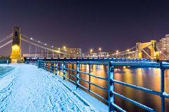 View on bridge at night in winter time - Wroclaw, Poland Stock Photos