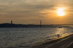 View of the bridge over de Tagus River in Lisbon Royalty Free Stock Photos