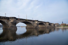 View of bridge over Elbe river in Dresden, Germany Stock Images