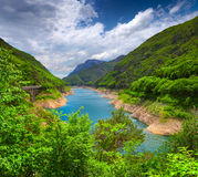 View from the bridge over the lake Valvestino Stock Photography
