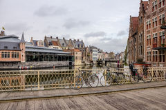 View from a bridge over Leie - Graslei Royalty Free Stock Image