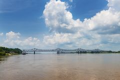 View of the bridge over the Mississippi River near the city of Natchez, Mississippi, USA;. Concept for travel in the USA and travel along the Mississippi River royalty free stock photo