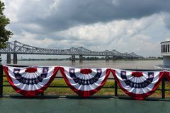 View of the bridge over the Mississippi River near the city of Natchez, Mississippi, USA; Stock Image