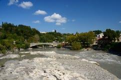 View of bridge over Rioni river in Kutaisi, Georgia,Imereti Royalty Free Stock Photography
