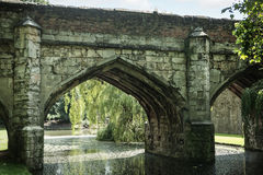 View of bridge over river. Bridge arch over river on a summers day Stock Image