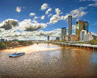 View from the Bridge over the River Brisbane (Australia, Brisbane) with views of the skyscrapers of the city royalty free stock photography