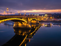 View of Bridge over River at Night Royalty Free Stock Photo