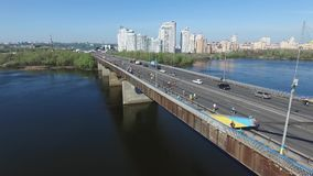 View of the bridge over the river, the road junction, the city sleeping area. Bridge over the river, the road junction, the city sleeping area stock footage