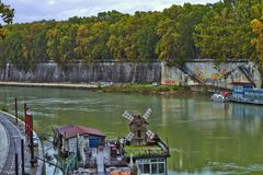 View from the bridge over the river Tevere royalty free stock photography