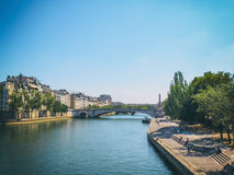 View from a Bridge. Over the Seine in Paris Stock Images