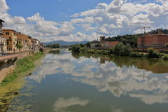 View from bridge Ponte alle Grazie in Florence, Italy Stock Image