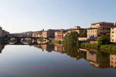 View on bridge Ponte Vecchio on arno river in florence in italy Royalty Free Stock Image