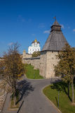 View from the bridge on the Pskov Kremlin Royalty Free Stock Photos