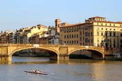The view on the bridge, river.and buildings. Royalty Free Stock Photography
