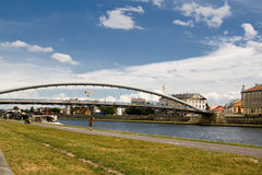 View of the bridge and river in Krakow, Poland, Europe. Stock Photos