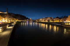 View from bridge on river Salzach at Salzburg at night Royalty Free Stock Photography