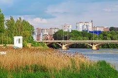 View of bridge through river Southern Buh in Vinnytsia. Ukraine Stock Image