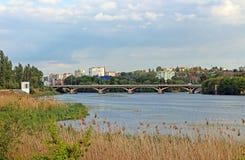 View of bridge through river Southern Buh in Vinnytsia. Ukraine Royalty Free Stock Photos