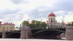 View of a bridge from the river in summer cloud day stock footage