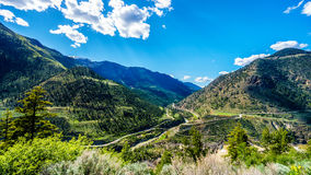 View of the Bridge River Valley from Highway 99, just north of the town of Lillooet Royalty Free Stock Images