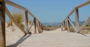 View on a Bridge on Sandy Beach stock video footage