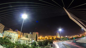 View from the bridge by Santiago Calatrava timelapse hyperlapse at the entrance to Jerusalem stock video