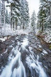 View on the bridge,scenic view of Narada falls on snow day in mt Stock Photography