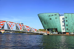 View of bridge and Science Center NEMO, Amsterdam, Netherlands Royalty Free Stock Images