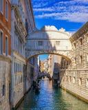 View of the Bridge of Sighs (Ponte dei Sospiri) and the Rio de P. Alazzo o de Canonica Canal from the Riva degli Schiavoni in Venice, Italy. The Ponte de la stock photo
