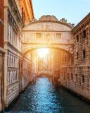 View of the Bridge of Sighs (Ponte dei Sospiri) and the Rio de P. Alazzo o de Canonica Canal from the Riva degli Schiavoni in Venice, Italy. The Ponte de la royalty free stock photography