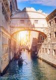 View of the Bridge of Sighs Ponte dei Sospiri and the Rio de P. Alazzo o de Canonica Canal from the Riva degli Schiavoni in Venice, Italy. The Ponte de la stock photos